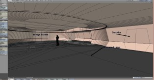 Early bridge concept layout, looking forward