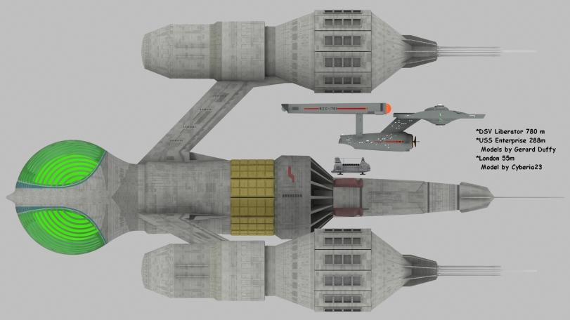 Liberator 780 m  London 55m Enterprise 288m side